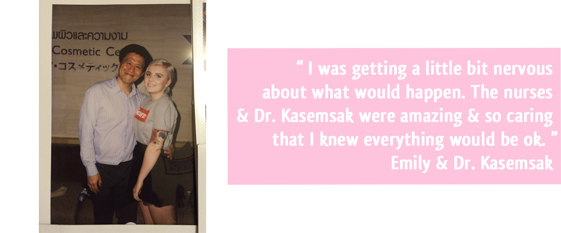 Emily with Dr. Kasemsak her breast augmentation surgeon
