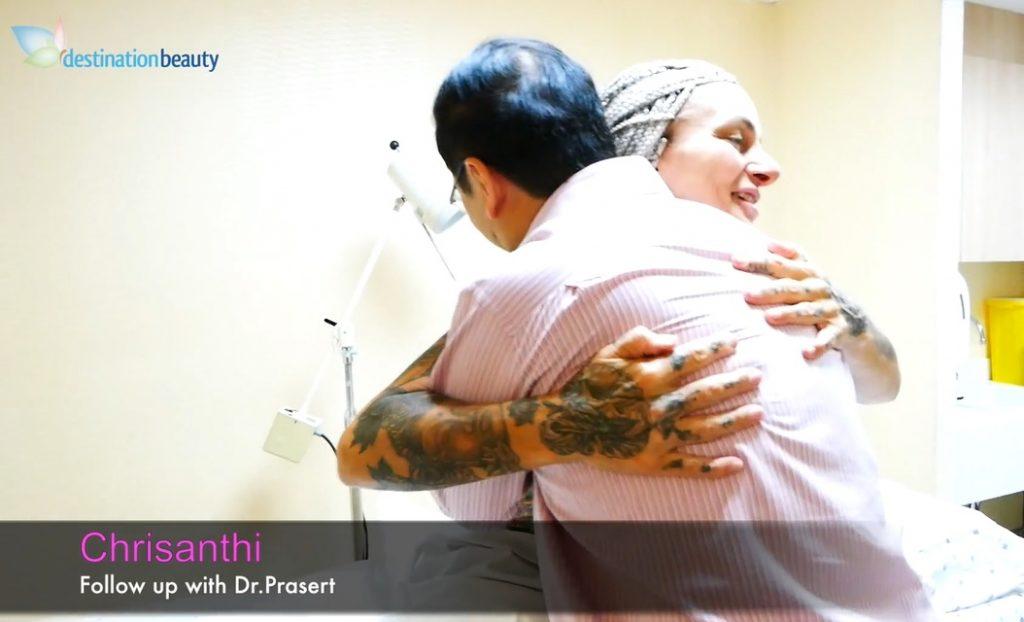 Chrisanthi's follow up with Dr. Prasert after rhinoplasty in Bangkok