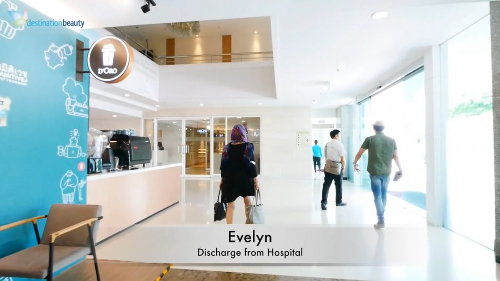Evelyn got discharged from the hospital after face lift in Bangkok!