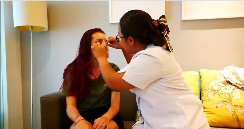 Gemma's nurse visit after nose job in Bangkok