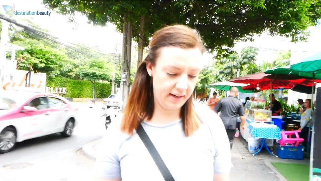 Kayla walked around the hotel before tummy tuck in Bangkok